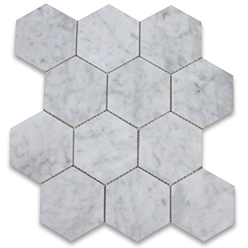 Carrara White Italian Carrera Marble Hexagon Mosaic Tile 4 inch Polished by Stone Center Online