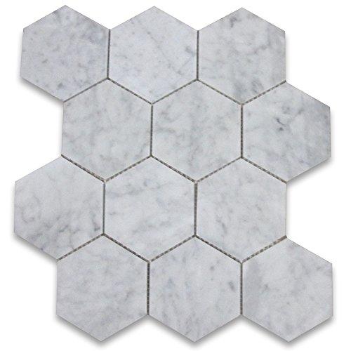 4 In Tile (Carrara White Italian Carrera Marble Hexagon Mosaic Tile 4 inch)