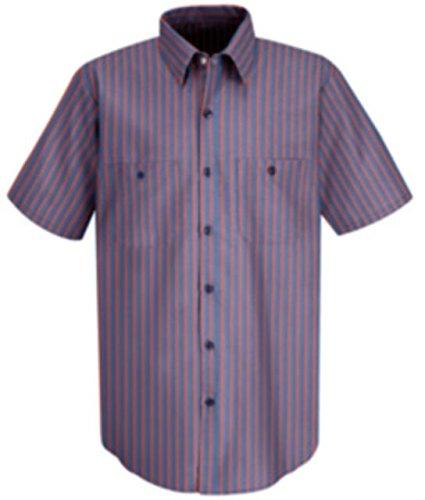 Red Kap Men's Industrial Stripe Work Shirt, Navy/Red Stripe, Short Sleeve ()