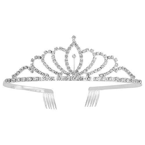 ROFIFY Intermingling Prom Bridal Crown Rhinestone Crystal Decor Headband Veil Tiara FJ027