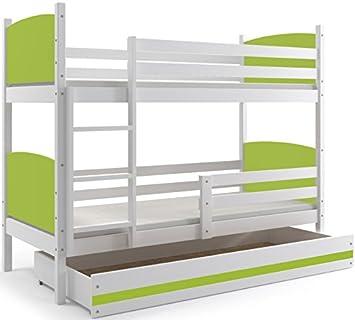 Interbeds Cama Doble - litera Infantil,Tami, 160X80, Color Blanco, los Paneles (colchones,somieres y cajón Gratis) (Verde): Amazon.es: Hogar