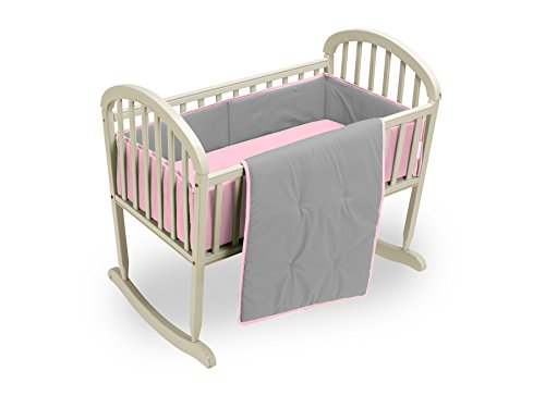 Baby Doll Bedding Reversible Cradle Bedding, Grey/Pink by BabyDoll Bedding