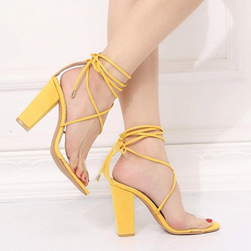 VEMOW High Heels for Women, for Work Utility Footwear Gladiator Closed Toe Platform Sparkly Roman Sandals Party Club Office Court Shoes, Ladies Cross Strap Super Party Ankle Square Yellow