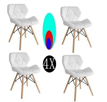 Comfortableplus Pack de 4 sillas Inspiradas en Cecilia Eiffel Millmead Silla de Comedor Blanca de Estilo Retro Silla de Comedor de Estilo Mariposa ...