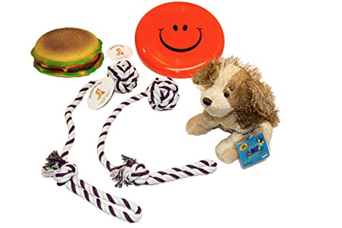 Everlast Pet Toys   Chew   Squeak Bundle For Dogs   Plush Doll   Smiley Face Disc   Guaranteed   2   Knotted Ball Tug Ropes   Fat Burger   Top Rated    1 Seller   All Breeds Small To Large