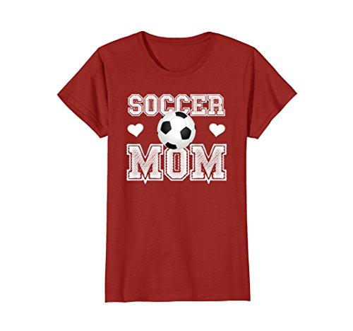 Womens Cute Soccer Shirt for Moms-Soccer Mom TShirt Medium Cranberry