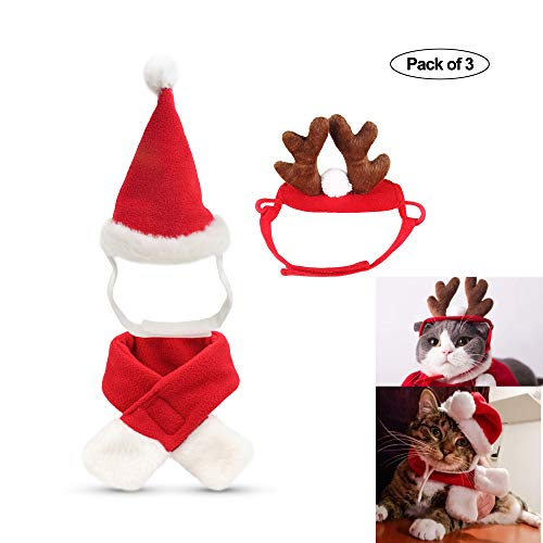 fast and good Cat Santa Christmas Hat + Muffler + Elk Antler Reindeer Hat, Head Wear Accesories Christmas Costume Outfits for Pet Dog Cat Rabbit(Pack of 3) -