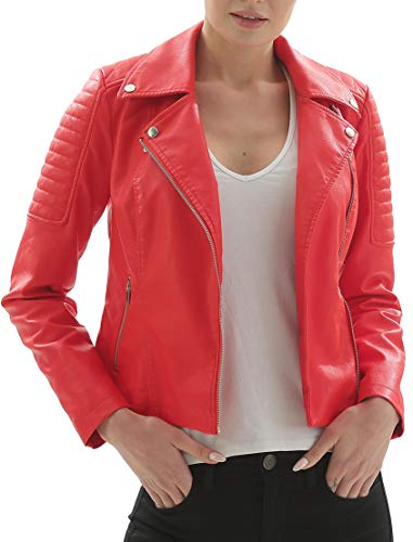 Ladies Premium Motorcycle Jacket - Fahsyee Women's Faux Leather Jackets, Zip Up Motorcycle Short PU Moto Biker Outwear Fitted Slim Coat Red