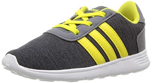 adidas Baby Lite Racer Running Shoe, Carbon/Shock Yellow/Onix, 9K M US ()