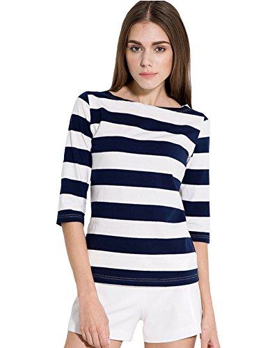 Blue Striped Shirt Costume (Camii Mia Women's 3/4 Sleeves Cotton Stripe T-Shirt (X-Small, Navy Blue))