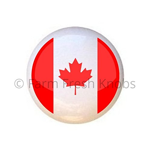 Canadian Flag Canada Maple Leaf - DECORATIVE Glossy CERAMIC Cupboard Cabinet PULL Dresser Drawer KNOB (Knobs Pulls And Canada)