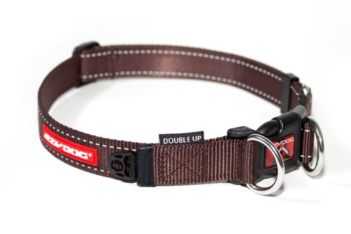 EzyDog Double Up Premium Nylon Dog Collar with Reflective Stitching - Double D-Rings for Superior Strength, Safety, and Comfortability - Non-Rusting and Includes an ID Attachment (Medium, Chocolate)