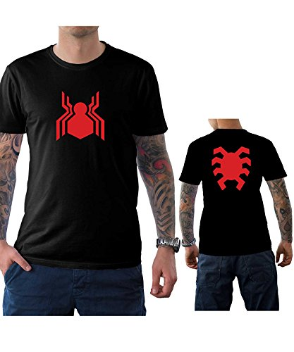 Mens Spider-man Homecoming Front and Back Logo T Shirt | Black, L