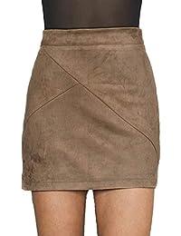Women's High Waist Faux Suede Mini Short Bodycon Skirt