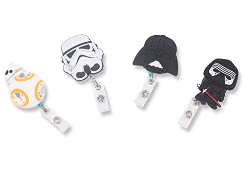 Finex Star Wars BB8 Darth Vader Kylo Ren Stormtrooper Set of 4 Retractable Badge Holder ID Badge Reel Clip On Card Holders