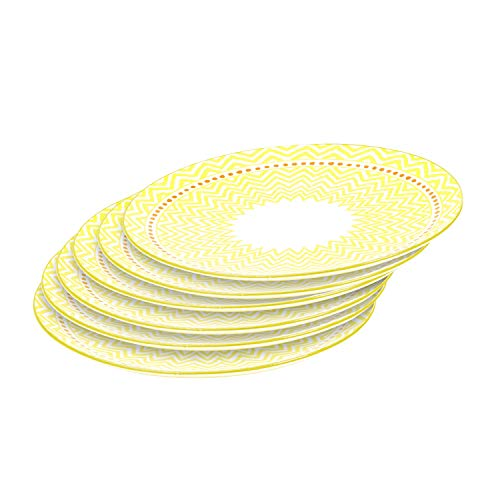 - Accent Dinner Plates Porcelain Tableware Set for Pasta Dishes Tapas, Set of 6, 10.3 Inch - Yellow