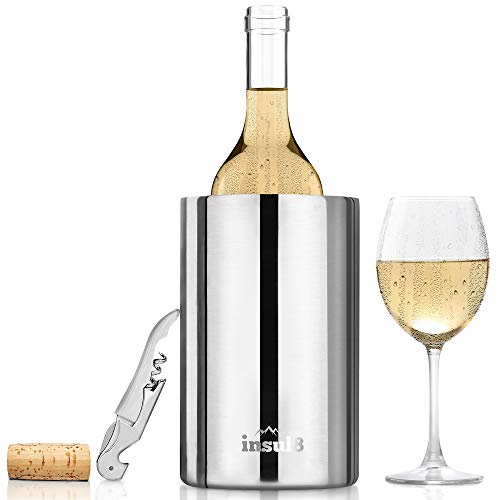 Stainless Steel Wine and Champagne Bottle Chiller Mirror Finish with Free Bonus Wine Bottle Opener
