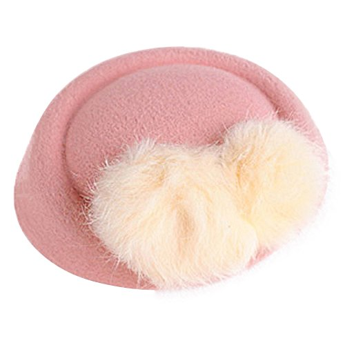 Pink Fancy Pin Hat (Mwfus Girls Faux Fur Ball Mini Top Hat Fascinator Hair Clip Hairpin Women Kentucky Derby Costume Accessory)