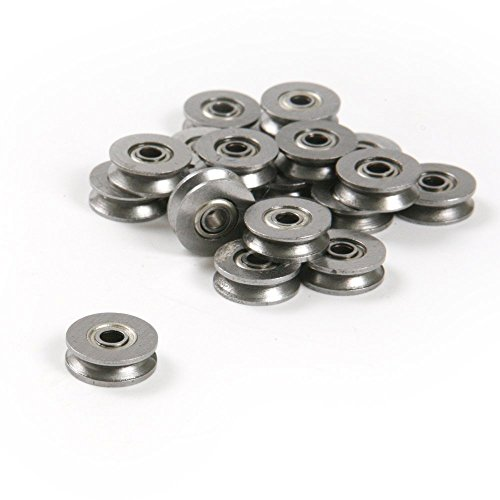 Letool10pcs 3124mm High Carbon Steel 1.5mm Deep V Groove Guide Pulley Rail Ball Bearings Wheel
