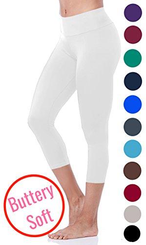 Leggings+Capri+Length+Buttery+Soft+-+Variety+of+Colors+-+Yoga+Waist+-+White