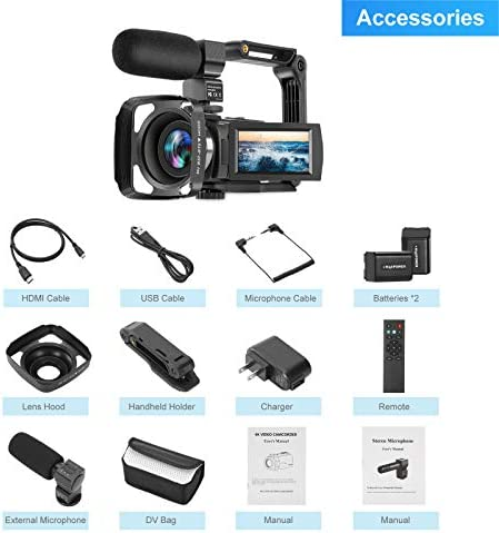 Video Camera Camcorder 4K 60FPS kicteck Ultra HD Digital WiFi Camera 48MP 3 inch Touch Screen Night Vision 16X Digital Zoom Recorder with External Microphone, Remote Control, Lens Hood, Stabilizer