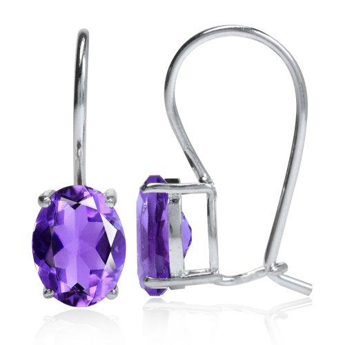 Drop Earrings Amethyst Hook (2.14ct Natural African Amethyst 925 Sterling Silver Hook Earrings)