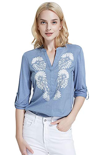 Women's Blouse Tunic Shirt with Embroidery Henley V-Neck and 3/4 Roll-up ()