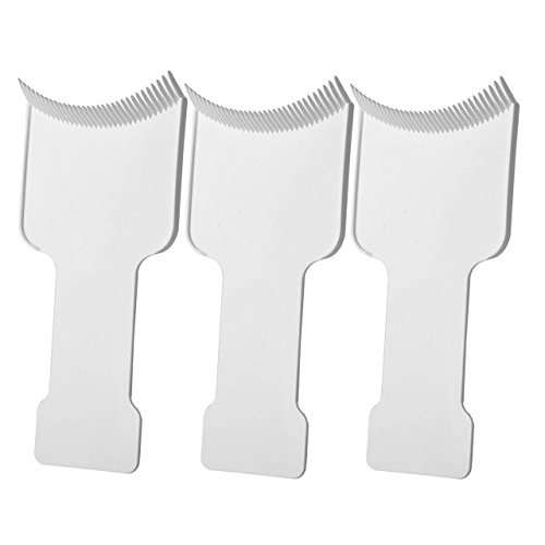 Price comparison product image CCbeauty 3Pcs Barber Flat Top Paddle Board Comb Hair Highlighting Sectioning Comb Set for Hair Dye Colors, Balayage & More (White)