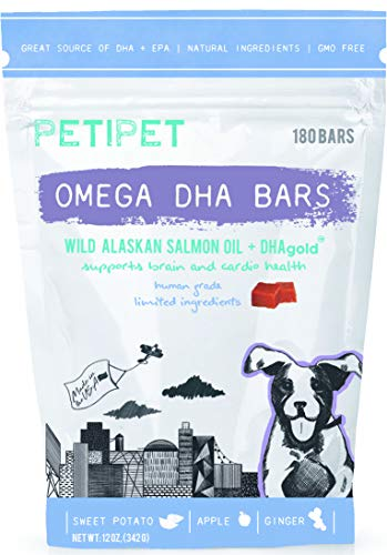 Petipet Omega DHA Bars - Fish Oil Supplement for Dogs with Wild Alaskan Salmon Oil, Shedding and Itching Relief, Skin and Coat Health, Omega 3 for Dogs