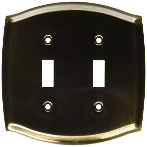Baldwin 4766050 Double Toggle Colonial Switch Plate, Antique Brass -