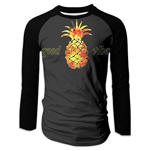 Men Pineapple Good Vibes Printed Top&Tee Clothing With Long- Sleeves