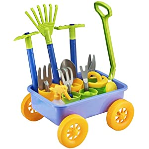 deAO Pull along Kids Wagon Wheelbarrow and Gardening Tools Play Set Includes 10 Accessories and 4 Plant Pots