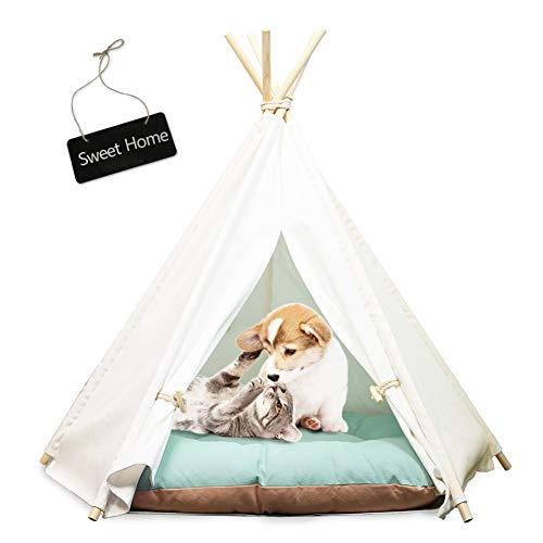 Van Unico Pet Teepee for Dogs & Cats 24 Inch Portable Pet House Tent