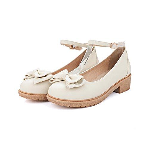 Urethane Buckle Shoes BalaMasa Ladies Beige Pumps Bows Heels Square TAqPpwqX
