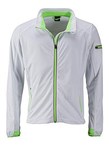 Blanc (blanc Bright-vert) S JAMES & NICHOLSON Hommes's Sports Softshell veste, Blouson Homme