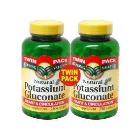 Spring Valley Potassium 99 mg from Potassium Gluconate 595 mg (2 Bottles of 250 Caplets) (Best Natural Potassium Supplements)