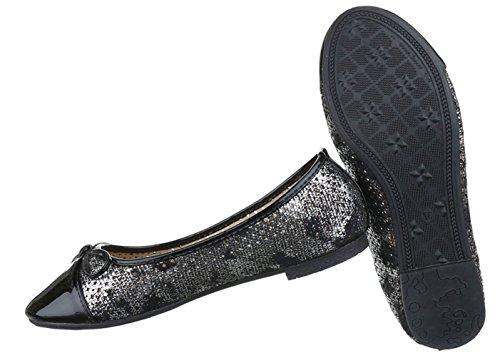 ... Damen Ballerinas Schuhe Loafers Slipper Slip-on Flats Pumps Schwarz Blau  Gold Rot Silber 36 ... a0fad329ad