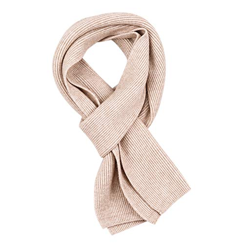 Aoile Unisex Water Ripple Long Knitted Scarf Chunky Warm Neckwear Soft Scarf for Men and Women creamy-white 15020CM