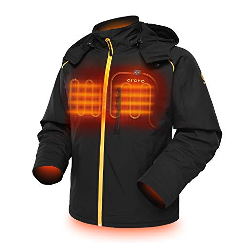 ORORO Men's Soft Shell Heated Jacket with Detachable Hood and Battery Pack (Black/Gold, L)