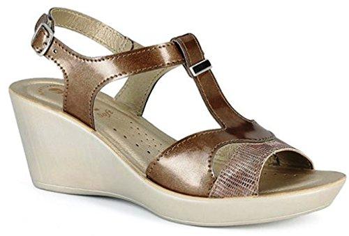 INBLU sandali, ciabatte donna ART. DN-33 zeppa bronzo LINEA BENESSERE
