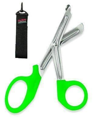 New Safety and Rescue Scuba Diver EMT Scissors Shears with Sheath & Plastic Clip - Neon Green (Plastic Divers Sheath)