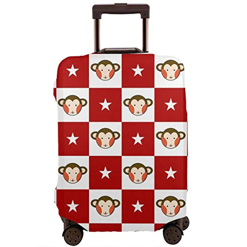 Monkey Star Red White Chess Board Perfect Details! High-Elastic Travel Case,Travel Luggage Cover Anti-scratch Baggage Suitcase Protector Cover Fits 18/24/28/32 Inch,Dust-proof Case,Washable Cover ()