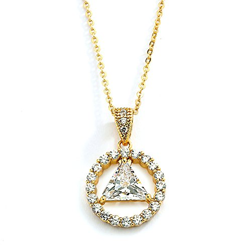 Family Unity Medallion - Mariell 14K Gold Plated AA Recovery Necklace CZ Unity Symbol Pendant - Great Jewelry Gift for Sober Women