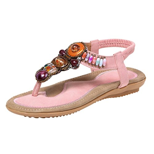 VEMOW Sandals for Women, Slippers Gladiator Wedge Tan Closed Toe Platform Sparkly High Low Heels Roman Flats Flip Flops Thongs, Summer Bohemia Leather Beach Peep-Toe Ethnic Sandals Pink