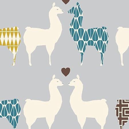 Algodón orgánico Llama tela por metro – mona25 Graphic Llamas ...