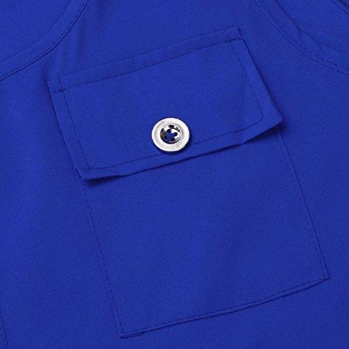 Manches T Dbardeur Manches Pour Femmes Shirt Chemisier Tops Gilet Dcontract Shirt sans Blouse Tops Dbardeur Plus Longues T Chic URSING O la Bleu Chemisiers Cou Bonjouree Casual Boutons x0vqHnTHO