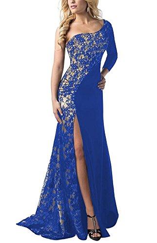 Una Sera Cocktail Vestiti Da Cerimonia Partito Donna Abiti Vintage Pizzo Vestitini Vestito Blu Spalla Da Da Lunghi Eleganti fwqxYpav