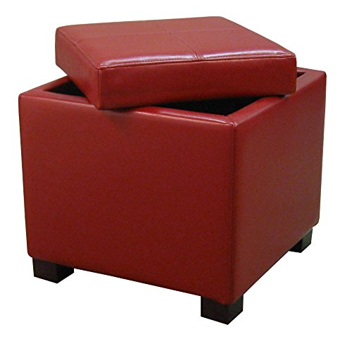 New Pacific Direct Venzia Bonded Leather Square Ottoman Ottomans Cubes, Red