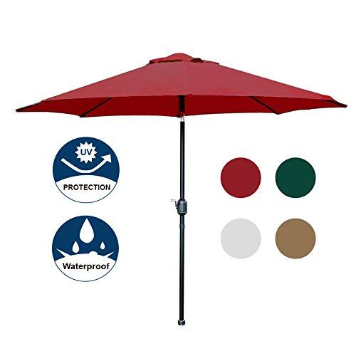 Cheap Blissun 9′ Patio Umbrella Aluminum Manual Push Button Tilt and Crank Garden Parasol, 8 Ribs (Red)
