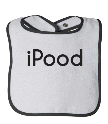 iPood CUTE INFANT Baby Feeding Bib / Infant Apple Nerd Geek iPod Humor